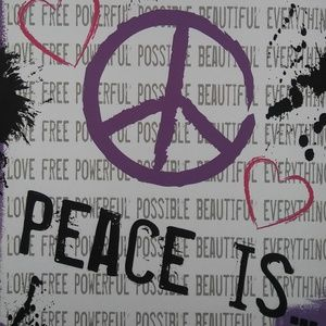 """Peace Is...Wallhanging on 1/2"""" Canvas"""